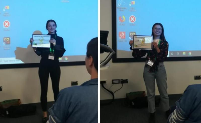 lucy baehren and megan beardmore herd are awarded the student prize for best podium and poster presentations