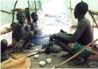 william dangas family tent in nor deng temporary camp in southern sudan july