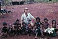 Darrell Posey in the field with Kayapo children, late 1970s