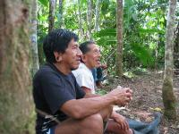 Two Huaorani brothers telling myths while taking a break from 'land working' (L. Rival, 2009)